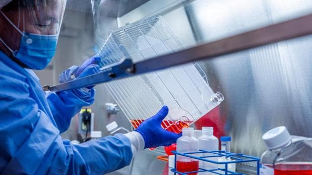 A researcher at the University of Pittsburgh works on a COVID-19 vaccine candidate.(UPMC via REUTERS)