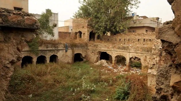 Remains of a late-Mughal era fort can be found in Tauru near Lakhpat chowk in Haryana's Nuh district.(Parveen Kumar / HT Photo)