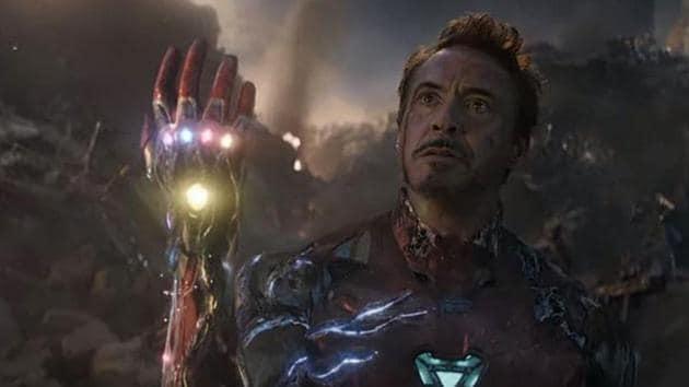 Robert Downey Jr as Iron Man in Avengers: Endgame.