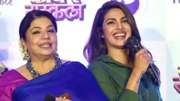 Priyanka Chopra poses with mother Madhu Chopra.