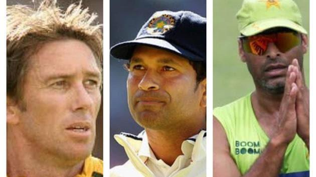 Glenn McGrath, Sachin Tendulkar, Shoaib Akhtar(HT Collage)