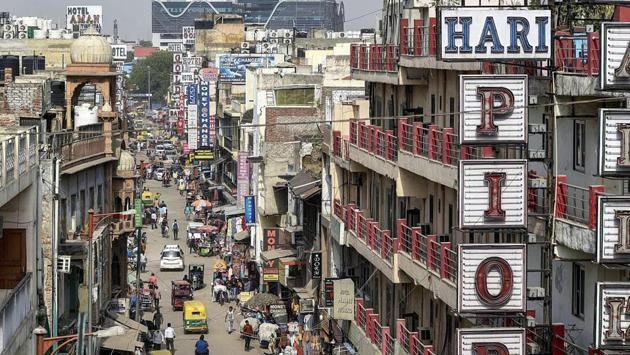 An aerial view of the main market in Paharganj in April last year. (Biplov Bhuyan / HT PHOTO)