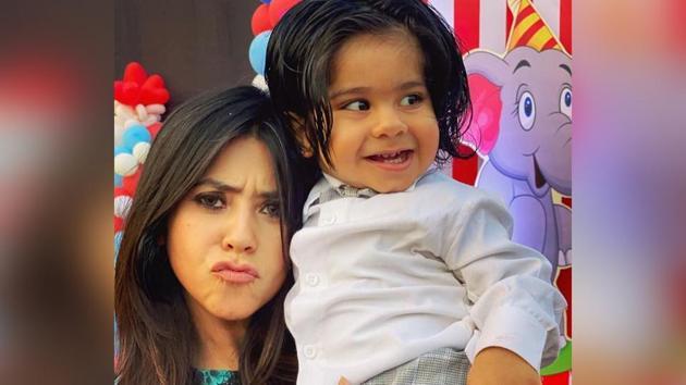 Ekta Kapoor with her son Ravie.
