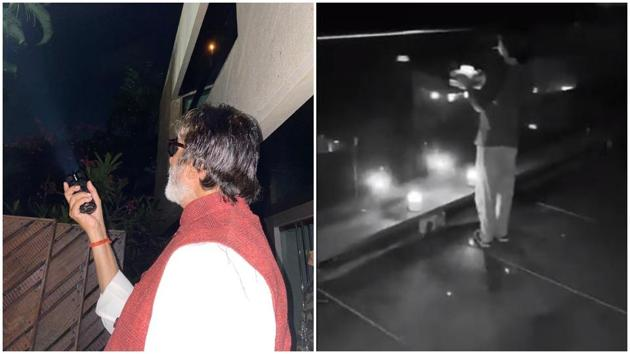 Amitabh Bachchan and Gauri Khan shared videos of how they participated in the 9pm call.