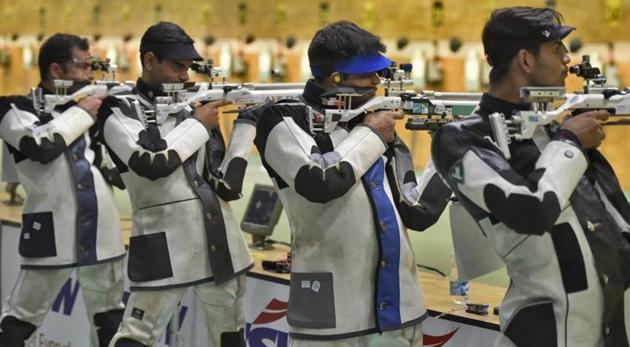 Indian shooters take part in a practice session.(Burhaan Kinu/HT PHOTO)