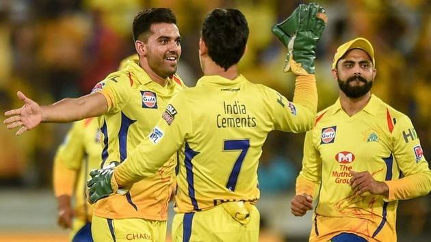 Chennai Super Kings (CSK) bowler Deepak Chahar (L) celebrates with teammates(PTI)