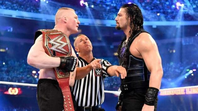 Brock Lesnar and Roman Reigns fight it out.(WWE)
