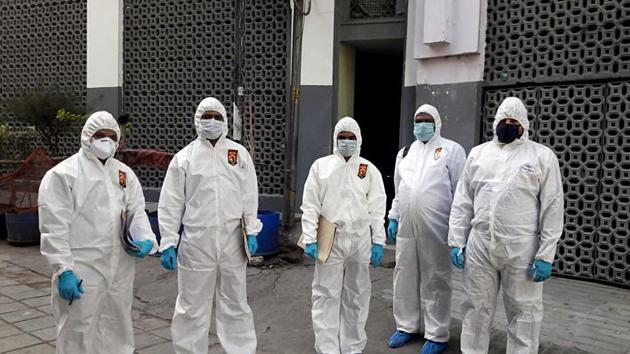 Forensic team visited Markaz under the jurisdiction of Police Station Nizamuddin for the crime scene to spot examination.(ANI Photo)
