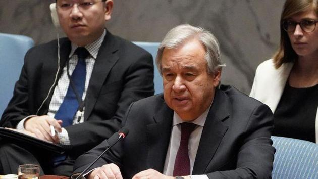 Secretary General of the United Nations Antonio Guterres speaks during a Security Council meeting. This picture is from February 28, 2020.(REUTERS/File Photo)
