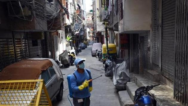 On April 2, the MCG had launched a week-long drive to sanitise and disinfect around 350 residential areas in the city along with ATM kiosks, bank branches, and chemist and grocery shops.(Ajay Aggarwal/HT PHOTO)