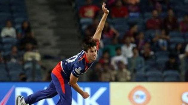 Pat Cummins during an IPL match(IPL - Sportzpics)