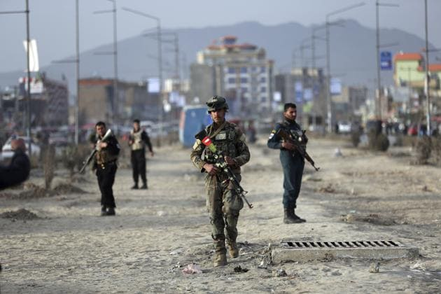 Afghan security personnel gather at the site of bomb explosion in Kabul, Afghanistan, Wednesday, Feb. 26, 2020.(AP/ File photo)