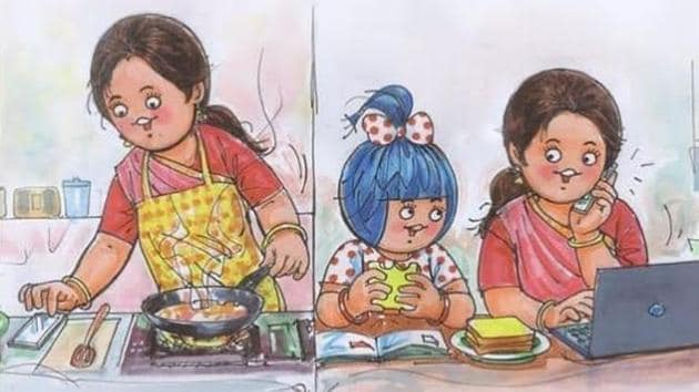 Amul dedicates new doodle to women all-rounders 'working from home' and 'working for home'.(Amul_India/Instagram)