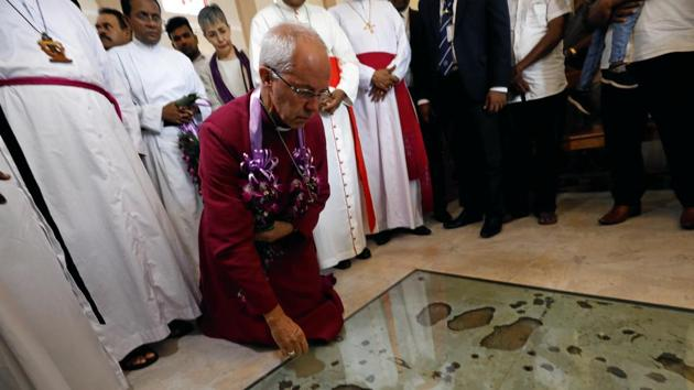 Justin Welby, Archbishop of Canterbury, prays for victims of the 2019 Easter Sunday bomb attack, kneeling at the spot where the suicide bomber detonated explosives, during his visit at St. Sebastian's Church, Katuwapitiya village in Negombo, Sri Lanka August 29, 2019.(Reuters/ Image for representation)