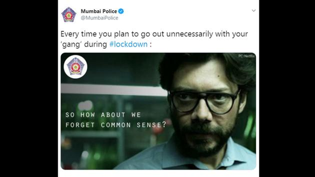 This tweet by the department has taken netizens by surprise and it was liked over 5,300 times.(Twitter/@MumbaiPolice)