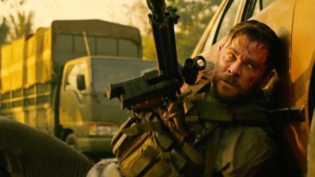 Chris Hemsworth in a still from Extraction.