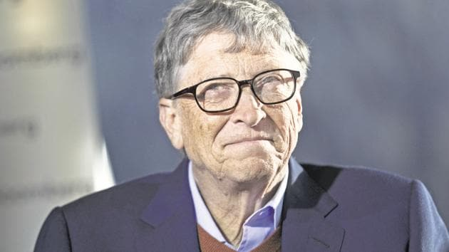 Bill Gates, billionaire and co-chair of the Bill and Melinda Gates Foundation, reacts during a Bloomberg Television interview on day two of the World Economic Forum (WEF) in Davos, Switzerland, on Wednesday, Jan. 24, 2018. World leaders, influential executives, bankers and policy makers attend the 48th annual meeting of the World Economic Forum in Davos from Jan. 23 - 26. Photographer: Simon Dawson/Bloomberg(Bloomberg Photo)