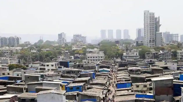 Aerial view of Dharavi which has been identified as the containment zone during the nationwide Covid-19 lockdown in Mumbai on Tuesday.(ANI file photo)