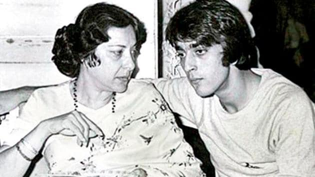Sanjay Dutt with his mother Nargis at an event.