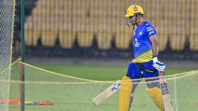 File image of MS Dhoni in nets.(PTI)