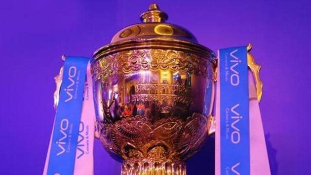 GV of the trophy during the Indian Premier League (IPL) auction.