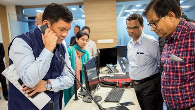 In this file photo, Arunachal Pradesh Chief Minister Pema Khandu inspect a full-fledged control room at Itanagar for preventive action and surveillance measures against coronavirus disease.(ANI Photo)