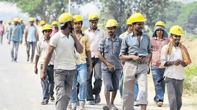 There are 8.5 million workers in India engaged in building and other construction activities.(Parveen Kumar/HT Photo)