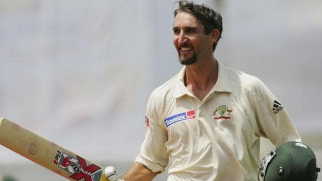 Jason Gillespie of Australia celebrates his double century during day four of the Second Test between Bangladesh and Australia played at the Chittagong Divisional Stadium.(Getty Images)