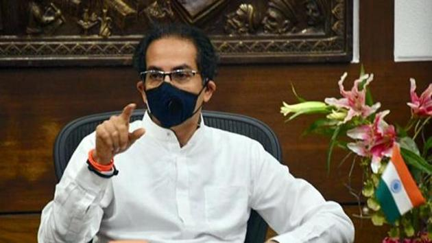 Maharashtra CM Uddhav Thackeray wears a mask while interacting with Prime Minister Narendra Modi over Covid-19 crisis via video-conferencing, in Mumbai last week.(ANI Photo)