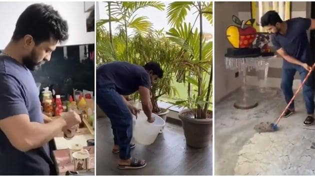 Ram Charan uploaded his video doing house work.