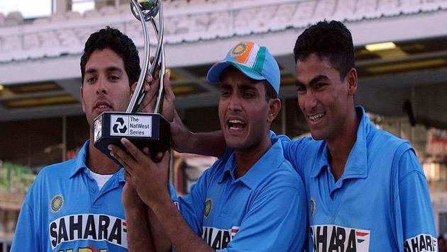 Sourav Ganguly with Yuvraj Singh and Mohammad Kaif(Twitter)