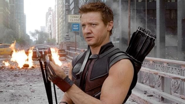 Jeremy Renner as Hawkeye in a still from The Avengers.