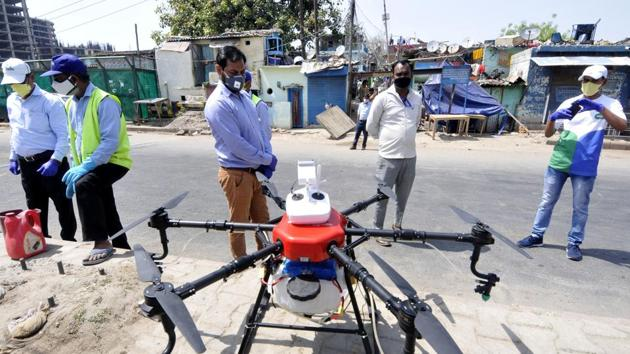 Last week a citizen had suggested the BMC to use drones to disinfect those containment zones which were inaccessible, said BMC insecticide officer Rajan Naringrekar.(HT file photo)