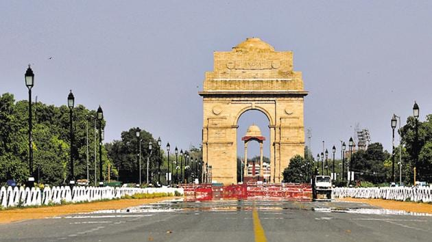 The India Gate war memorial is pictured after air pollution level started to drop during nationwide coronavirus lockdown.(REUTERS)