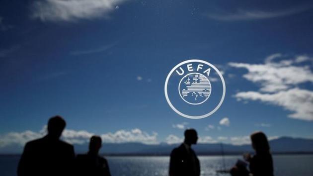 General view of the UEFA logo before the draw.(REUTERS)
