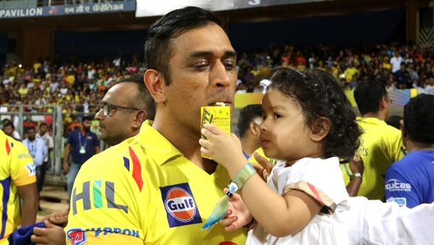 MS Dhoni with his daughter.(Vipin Pawar /SPORTZPICS for BCCI)