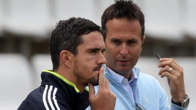 File image of Kevin Pietersen, Michael Vaughan(Twitter)