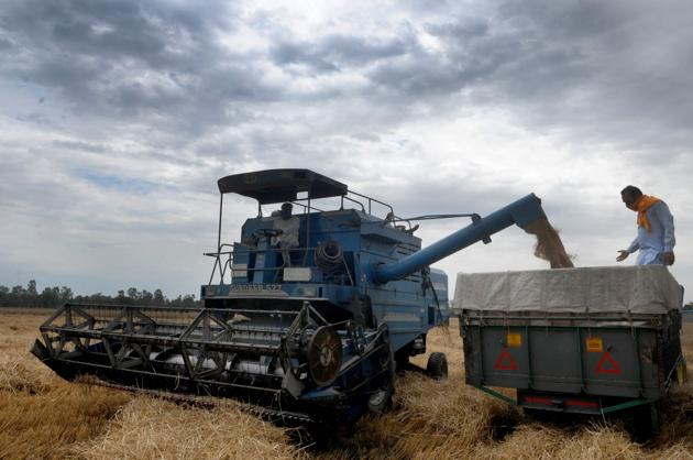 A combine harvester in a wheat field in Jalandhar, Punjab, during the lockdown on April 17, 2020.(Pardeep Pandit/Hindustan Times)