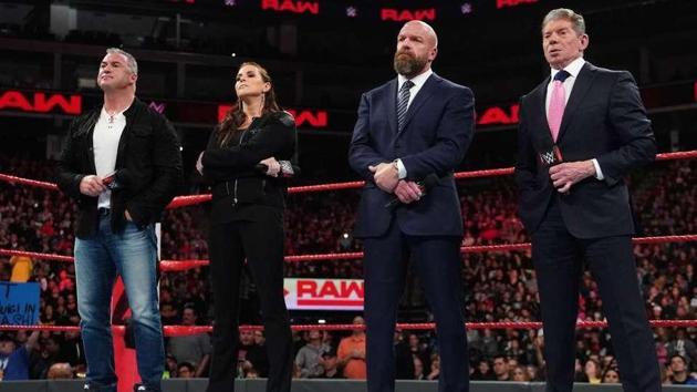 Shane McMahon, Stephanie, Triple H and Vince.(WWE)
