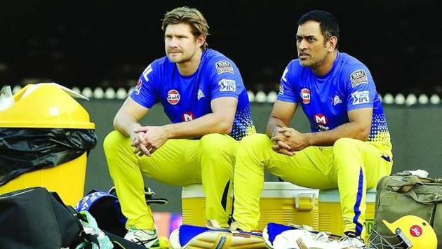 File image of MS Dhoni with Shane Watson.(IPL)