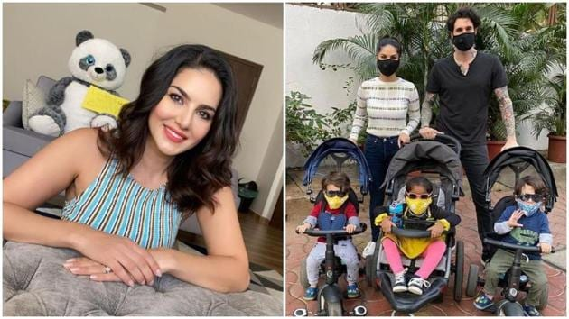 Sunny Leone is taking care of her kids with husband Daniel Weber and their nanny.