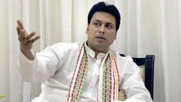 Tripura Chief Minister Biplab Kumar Deb during the interaction with the media in New Delhi in this file photo.(Sushil Kumar/HT Photo)
