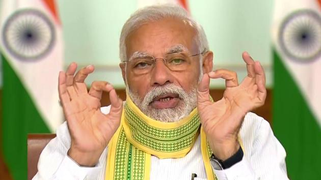 Prime Minister Narendra Modi interacts with Sarpanchs from across the nation via video conferencing, on the occasion of Panchayati Raj Diwas in New Delhi on Friday.(ANI Photo)