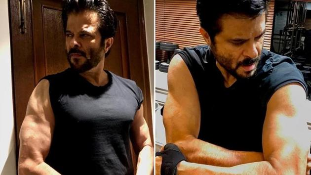 Anil Kapoor shows off his biceps.