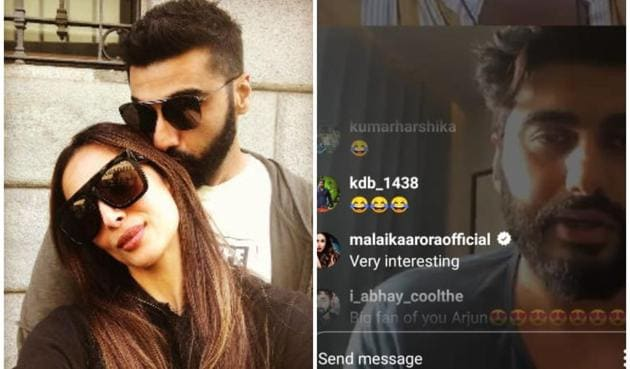 Malaika Arora dropped comments during Arjun Kapoor's Instagram live on Saturday evening.