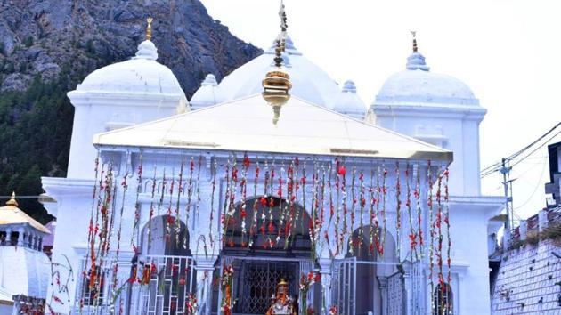 The portals of Gangotri and Yamunotri, both part of Uttarakhand's Char Dham Yatra were opened on Sunday(HT Photo)
