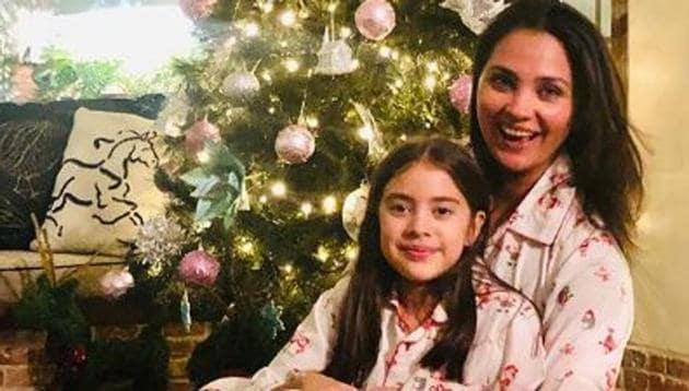Lara Dutta with daughter Saira.