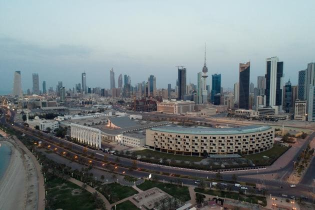 An aerial view shows Kuwait City and the National Assembly Building (Kuwait Parliament), after the country entered virtual lockdown, as a preventive measure against coronavirus disease (Covid-19) in Kuwait City.(REUTERS)
