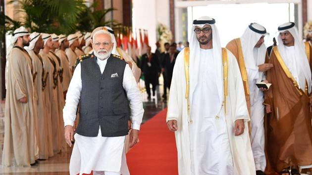 Prime Minister Narendra Modi being seen off by the Crown Prince of Abu Dhabi, Sheikh Mohammed Bin Zayed Al Nahyan on conclusion of his 3-nation visit at Abu Dhabi in UAE in August 2019.(PIB)