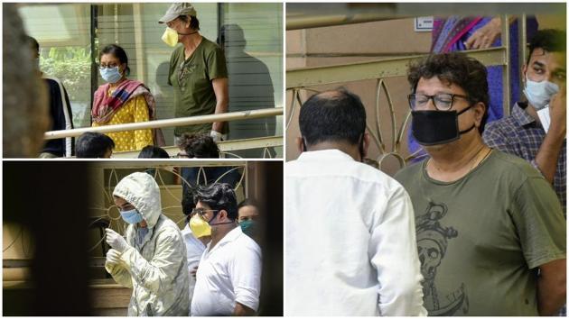 Irrfan Khan's wife Sutapa Sikdar and son Babil at the Kokilaben Dhirubhai Ambani Hospital on Wednesday.(Pramod Thakur/ Hindustan Times)
